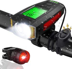 CrazyFire Fahrradcomputer mit Licht und Hupe